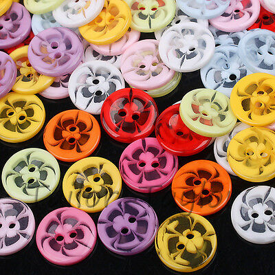 100pcs Mixed Sewing Buttons Scrapbook Cardmaking Arts Craft Resin Round 14-22mm