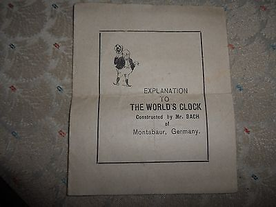 WWI AD- Explanation to the Worlds Clock by Mr. Bach of Montabaur Germany