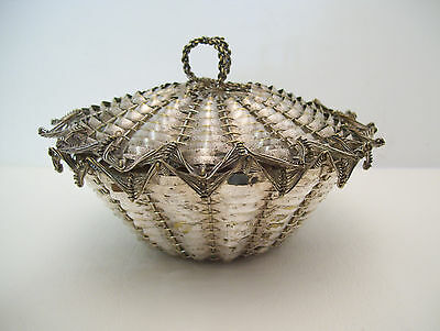 Silverplated Hand Woven Metal Lidded Basket Marked France