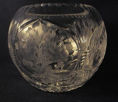 "Large cut glass rosebowl rose bowl floral cut 6"" diameter gray cut flowers"