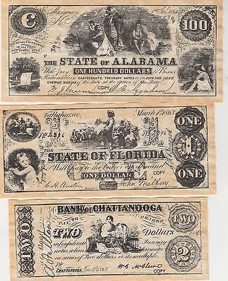 6 bills Confederate Currency Set B  Reproduction on Parchment Looks & Feels Old