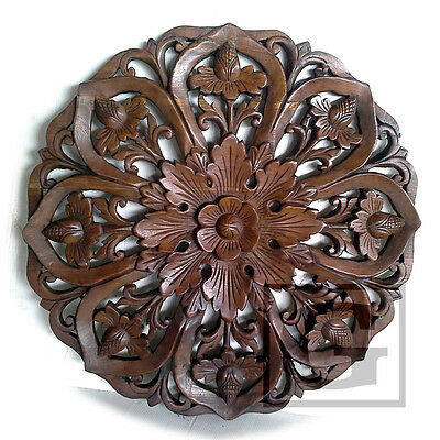 5ft Stained Lotus Teak Wood Carving Home Wall Panel Mural Art Decor #02 FS gtahy