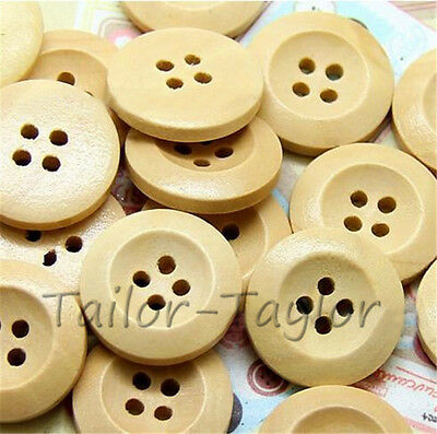 50 pcs  4 Holes Wooden Buttons Natural Color Round Sewing Craft Accessories DIY