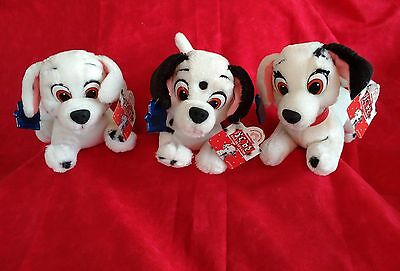Applause 101 Dalmatians Disney Set of 3 Plush Patch Puppies  with Tags