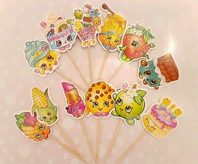 12 x Shopkins Cupcake Toppers Girls Birthday Party Cake Decoration