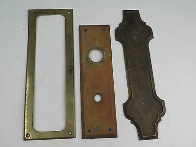 Antique Lot  Brass Bronze Door Handle Plate Hardware Vent Escutcheon Vernon