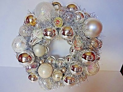 Hand Made Vtg Glass Ornament Christmas Wreath Silver  White Indents Shiny Brite