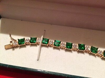 Suzanne Somers Bracelet 925 Sterling w Beautiful Green & Crystal Rhinestones