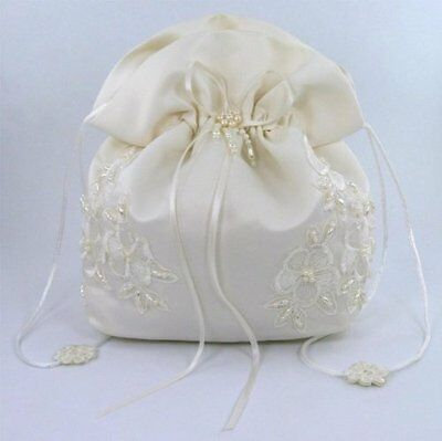 Satin Bridal Wedding Small Money Bag with Pearl-Embellished Floral Lace for and