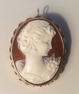 Vintage 14K Yellow Gold Shell Cameo Pin Brooch Pendant