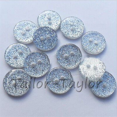 100pcs Round 2-holes Resin Glitter Shirt Buttons Clear Sewing DIY Accessories