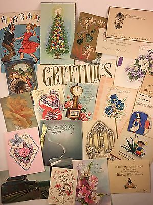Lot Of 22 Vintage Greeting And Post Cards Christmas Birthday Tuck's Deco