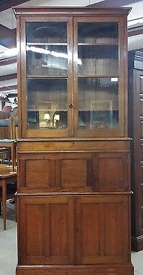 "96.5"" Tall Antique Mahogany Bookcase Old Glass Lg Drawer Drop Front Desk Cabinet"
