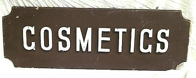 "VINTAGE 1950's DOUBLE SIDED WOODEN ""COSMETICS "" SIGN WITH RAISED LETTERS"