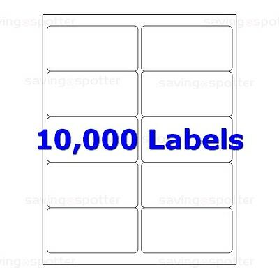 10000 White Mailing Shipping Labels 4x2 2x4 10-Up Laser Like Avery 5163 10x 1000
