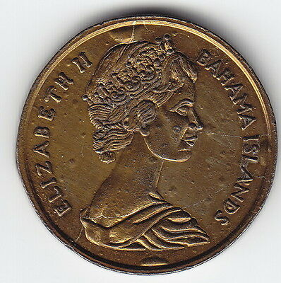 BAHAMAS 1 cent TOKEN 1969 similar to KM2 Brass (?) 29 mm CRUDE & VERY UNUSUAL !