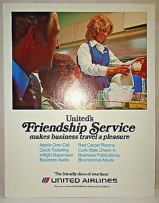 """Vtg 1976 ORG SIGN! United Airlines Friendship Service HEAVY CARDBOARD CLEAN 28"""""""
