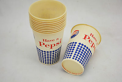 10 Vintage 1960s Pepsi 7 1/4oz Cold Drink Wax Paper Sweetheart Vending Cups NOS