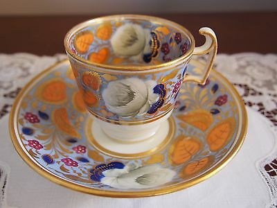 Antique Grainger Worcester Hand Painted Coffee Cup and Saucer
