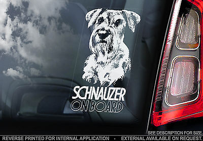 Schnauzer - Car Window Sticker - Dog on Board Sign Gift Print - Standard German