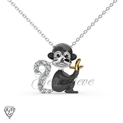 Swarovski Crystals Monkey Pendant Charm Necklace with Seal of Authenticity
