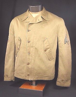 Orig 1940 Us Army M1938 Parsons Field Jacket, Complete W/ Sergeant Rank Chevrons