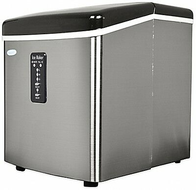 NewAir 28 lb. Stainless Steel Portable Compact Countertop Ice Cube Maker Machine