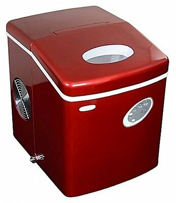 NewAir 28 lb. Portable Countertop Compact Home Bar Ice Maker Stainless Steel Red