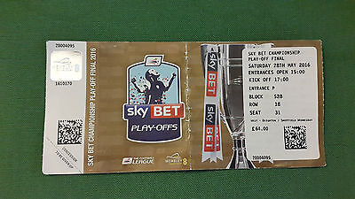 2016 Championship Play-Off Final Ticket Hull City v Sheffield Wednesday 28/05/16