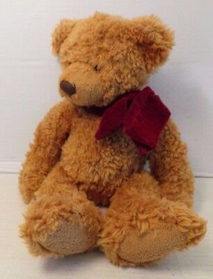 RUSS Berrie Timber plush stuffed brown bear red velvety bow 15 inches