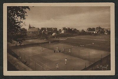 k1463)                EARLY POSTCARD: PEOPLE ON TENNIS COURTS NORMANDY FRANCE
