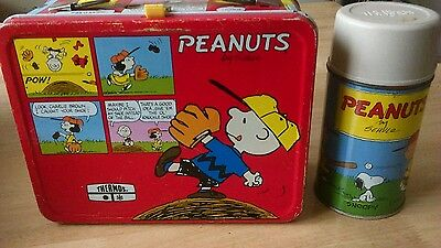 Vintage Peanuts Lunch Box Lunchbox With Metal Thermos