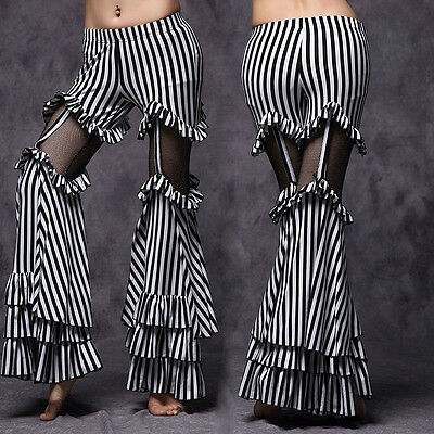 New Tribal Club Stage Belly Dance Costumes Pants Trousers Stripes Flared M L