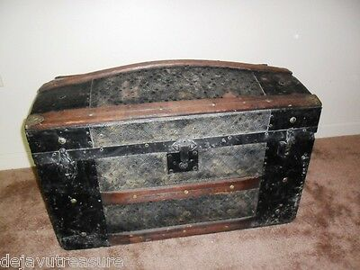 ANTIQUE 1800s CAMELBACK STEAMER TRUNK CHEST Wood / Patterned Tin+ Metal - Pirate