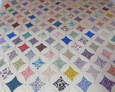 ANTIQUE HAND STITCHED MUSLIN CATHEDRAL WINDOW QUILT 84 x 74 LATE 1800's