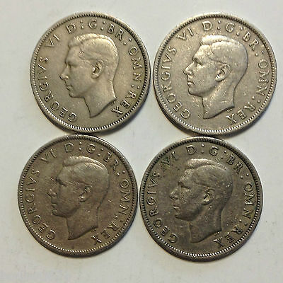UK tow shillings lot 4 coins