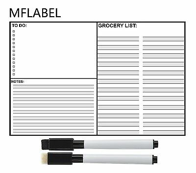 """16""""x12"""" Magnetic Refrigerator Dry Erase Grocery List Message White Board Planner"""