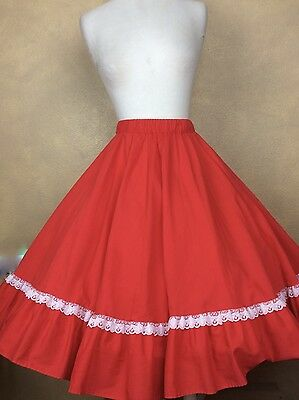 Vintage Partners Please Malco Modes Red Square Dance Skirt w White Lace Trim  L
