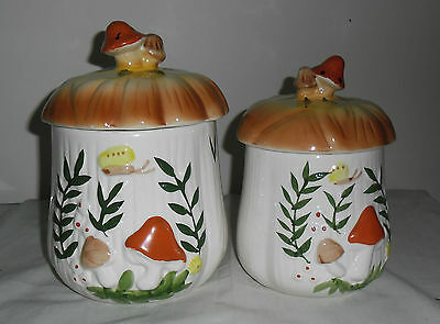 Vintage Set Of Two Jar Canisters : Mushroom Design