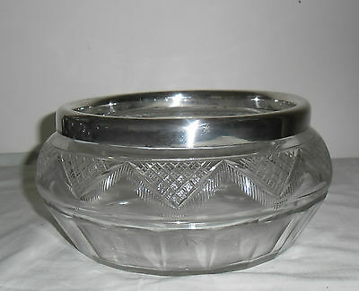 VINTAGE LARGE GLASS FRUIT or SALAD BOWL with SILVER PLATE RIM