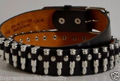Large Quality Genuine Leather Men Women Belt Silver Bullet Punk Rock Concerts