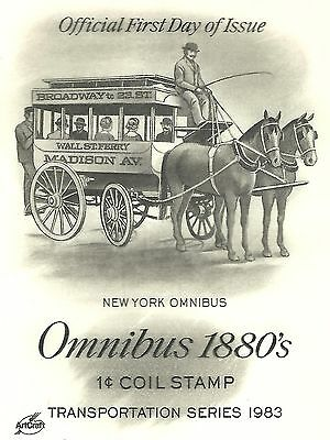 "1983 ""OMNIBUS WAGON 1880's Transportation Series"" with 1c on ArtCraft FDC Cachet"