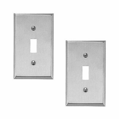 2 Switchplate Brushed Stainless 1 Toggle Or Dimmer  | Renovators Supply