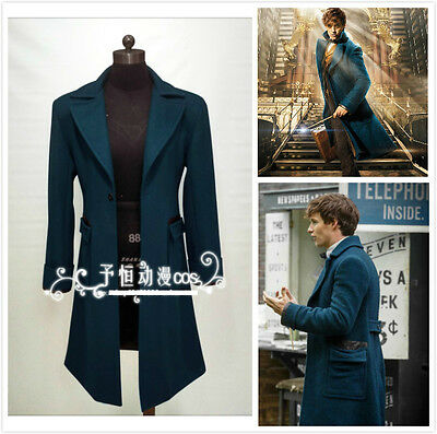 Fantastic Beasts and Where to Find Them Cosplay Trench Wool Coat Newt Scamander