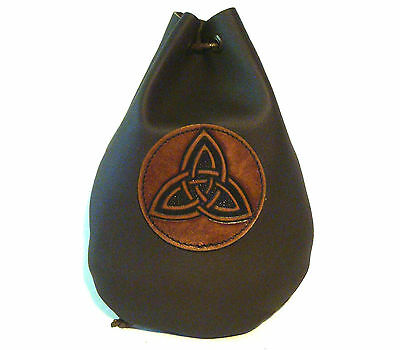 Leather Triquetra Dice Rune Coin  Belt Pouch Bag Taller Brown Medieval Sca Larp