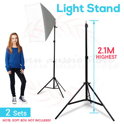 2x 210cm Photo Studio Solid Adjustable Tripod Light Stand For Softbox Umbrella
