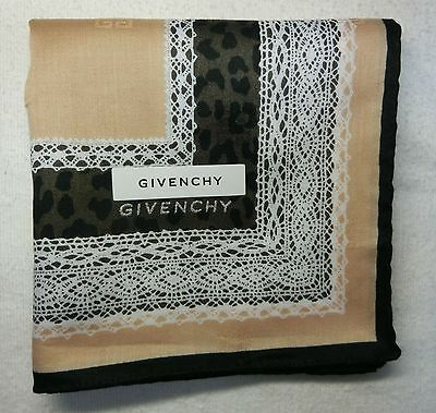"GIVENCHY beige lace print handkerchief cotton 100% 50X50cm(19.69"") Japan license"
