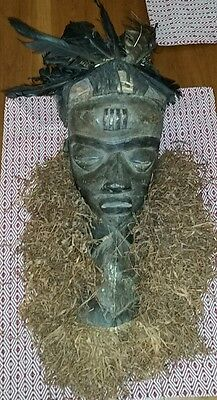 Antique African Mask With Raffia, Feathers & Fabric Headdress