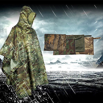 NEW Adult Camouflage Color Raincoat Cloak Poncho for Outdoor Climbing Fishing