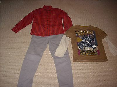 Boys Next Christmas Red Shirt  Jeans And Top Age 6-7 Years